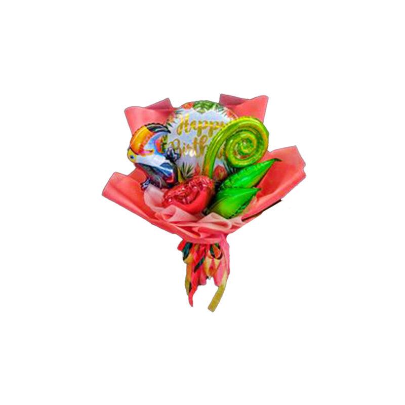 Mazzo palloncini cuori e tucano