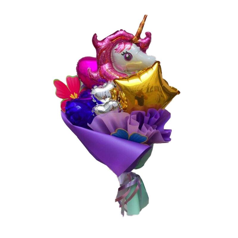 Mazzo palloncini cuori unicorno