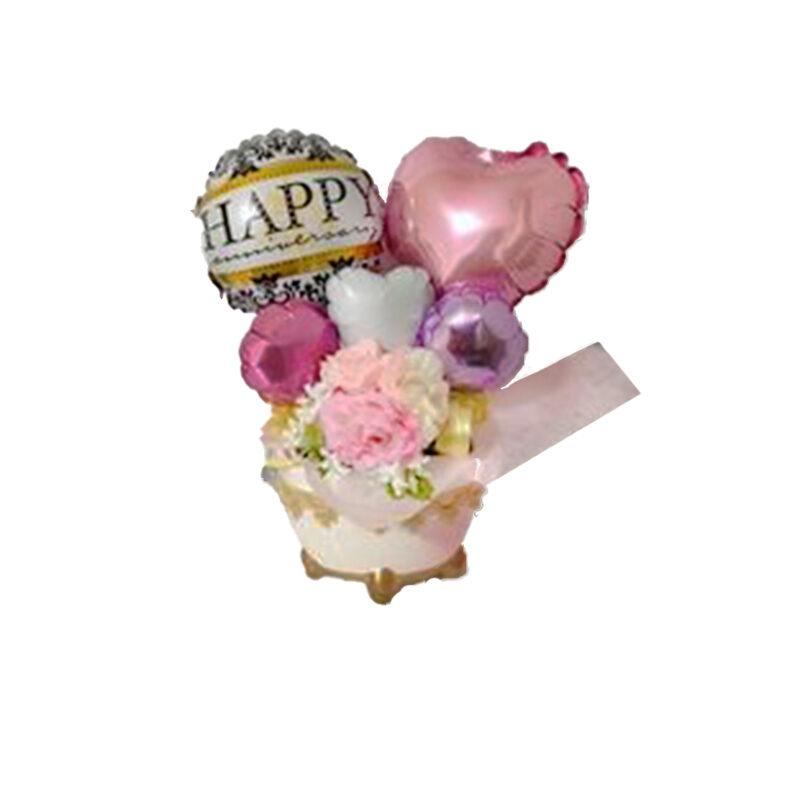 Centrotavola palloncini fiori e cuori primavera